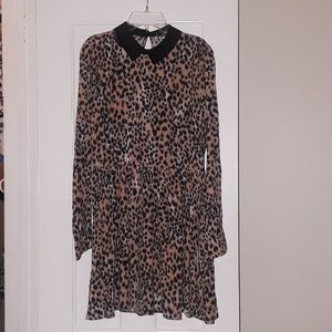Leopard Print Baby Doll Dress